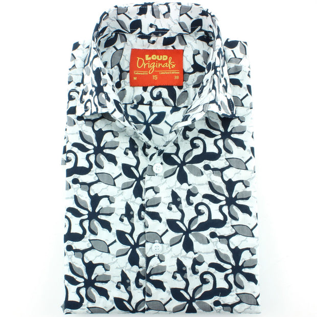 Slim Fit Long Sleeve Shirt - Block Print - Floral Tentacles