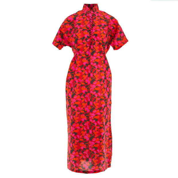 Mandarin Maxi Dress - Vivid Pink Flower