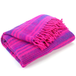 Vegan Wool Shawl Blanket - Stripe - Pink Purple