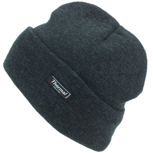 Fine Knit Beanie Hat - Charcoal Grey