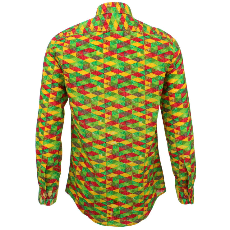 Tailored Fit Long Sleeve Shirt - Red Green Harlequin