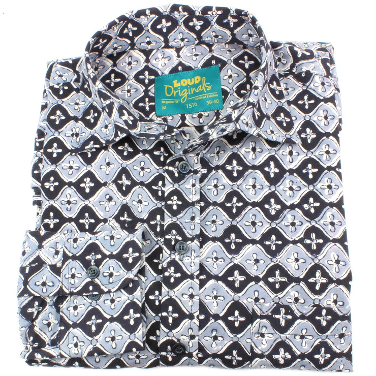 Regular Fit Long Sleeve Shirt - Black & Grey Spanish Tile Print