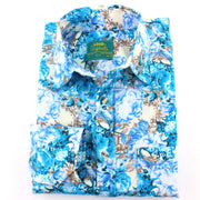 Tailored Fit Long Sleeve Shirt - Turquoise Floral