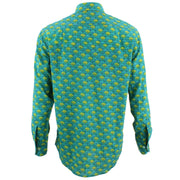 Regular Fit Long Sleeve Shirt - Turquoise & Yellow Umbrellas