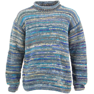 Chunky Wool Knit Space Dye Jumper - Blue Grey