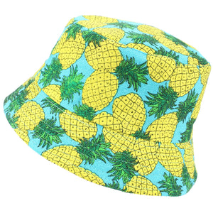 Printed Bucket Hat - Yellow Pineapple