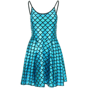Shiny Mermaid Scale Strappy Dress - Turquoise