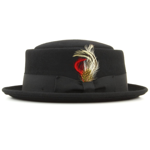 Maz 100% wool Pork pie hat with multicoloured side feather - Black
