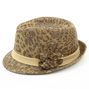 Leopard print trilby hat with side flower - Brown