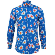 Tailored Fit Long Sleeve Shirt - Sky Daisies