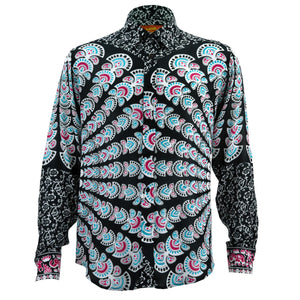 Regular Fit Long Sleeve Shirt - Mandala - Black White