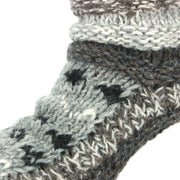 Chunky Wool Knit Abstract Pattern Slipper Socks - Grey