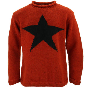 Chunky Wool Knit Star Jumper - Burnt Orange & Black
