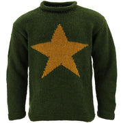 Chunky Wool Knit Star Jumper - Racing Green & Mustard