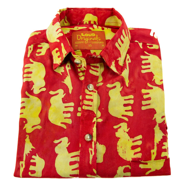 Regular Fit Long Sleeve Shirt - Herd of Elephants - Red