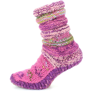 Chunky Wool Knit Slipper Socks - Pink