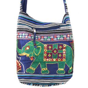 Embroidered Elephant Canvas Sling Shoulder Bag - Dark Blue