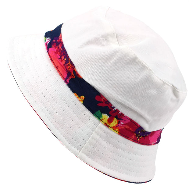 Bright Floral Print Reversible Bucket Hat - Blue