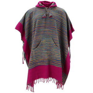Soft Vegan Wool Hooded Tibet Poncho - Multi Plum
