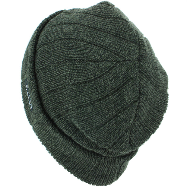 Fine Knit Marl Beanie Hat with Thermal Lining - Brown