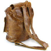 Real Leather Backpack with Two Front Pockets - Brown