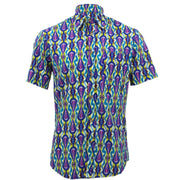 Tailored Fit Short Sleeve Shirt - Blue & Yellow Abstract
