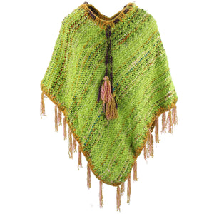 Stripe Crochet Poncho Long - Bright Green