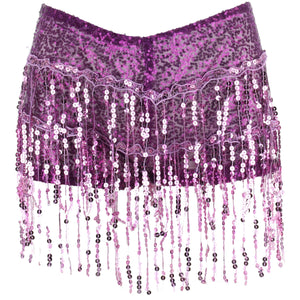 Sequin Tassel Hot Pants - Purple