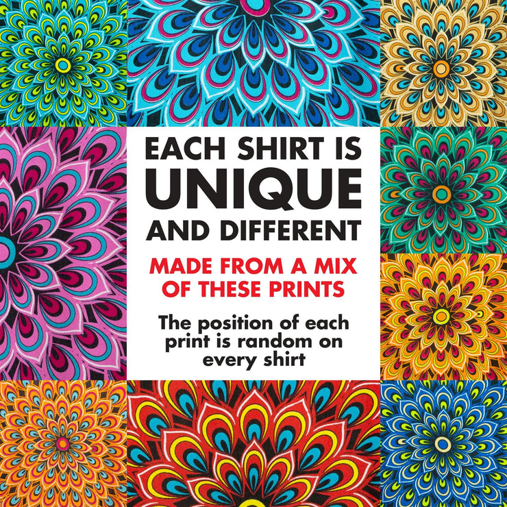 Regular Fit Short Sleeve Shirt - Peacock Mandala - Random Mixed Panel