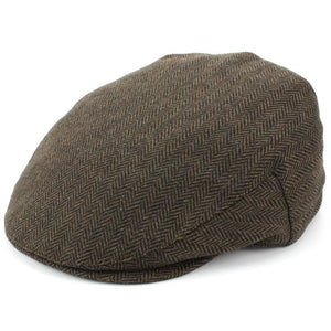 Herringbone Flat Cap with Quilted Lining - Brown