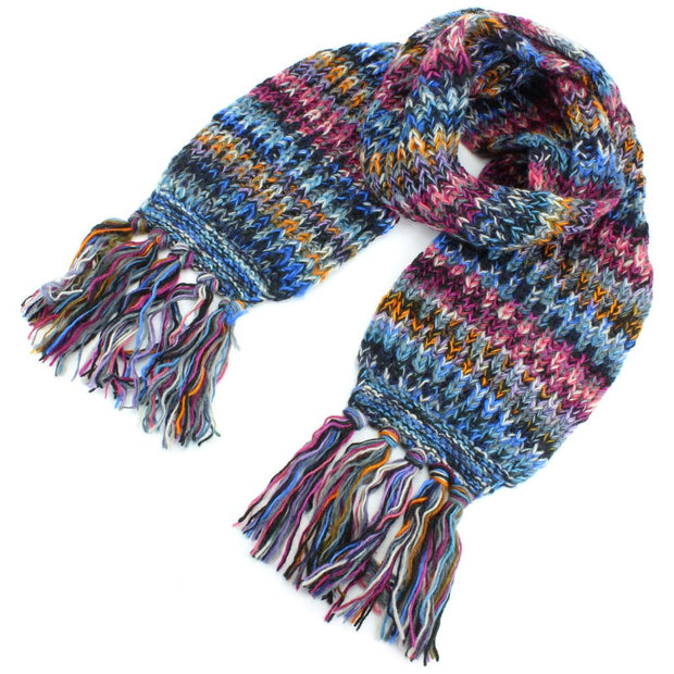 Long Chunky Knit Wool Multi Mix Scarf - Blue Mix