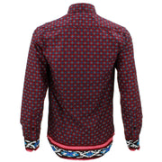 Tailored Fit Long Sleeve Shirt - Red Abstract