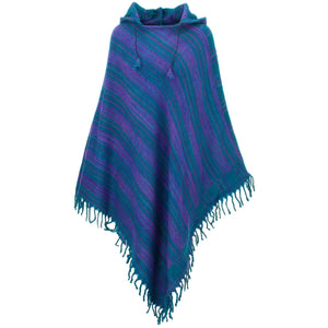 Vegan Wool Hooded Poncho - Green & Purple