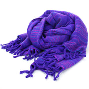 Vegan Wool Shawl Blanket - Stripe - Bright Purple