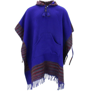 Soft Vegan Wool Hooded Tibet Poncho - Blue Dark Purple