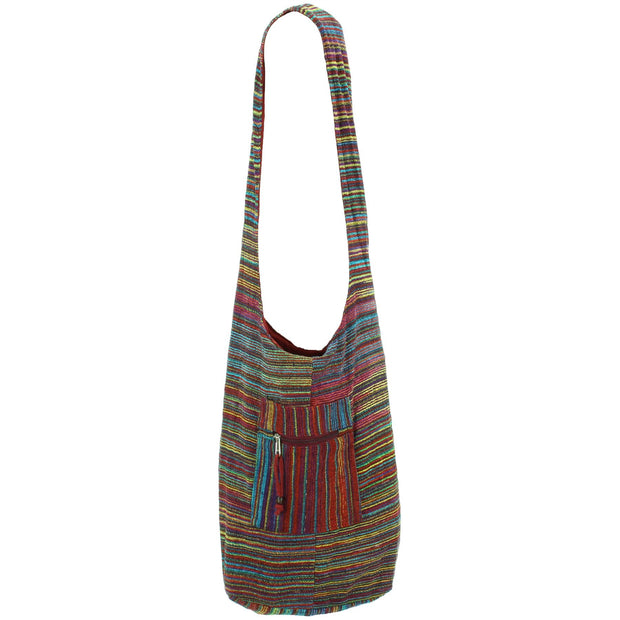 Striped Chenille Sling Shoulder Bag  - Purple Multi