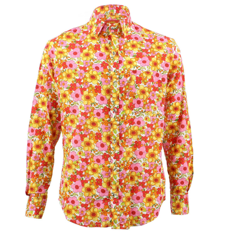 Tailored Fit Long Sleeve Shirt - Bright Pink & Yellow Floral