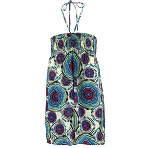 Halterneck Wrinkle Dress - Blue Kaleidoscope