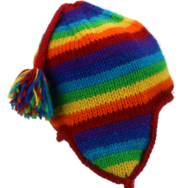 Wool Knit Earflap Tassel Hat - Stripe Rainbow