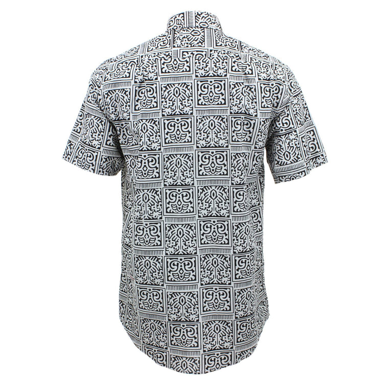 Regular Fit Short Sleeve Shirt - Black & White Tribal
