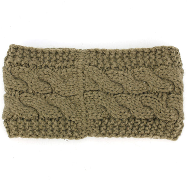 Knitted Ribbed Headband - Brown