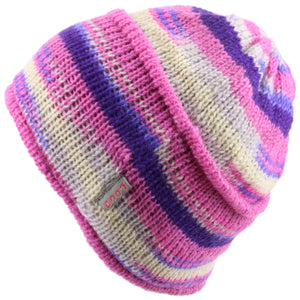 Wool knit ridge beanie hat with fleece lining - Pink & cream