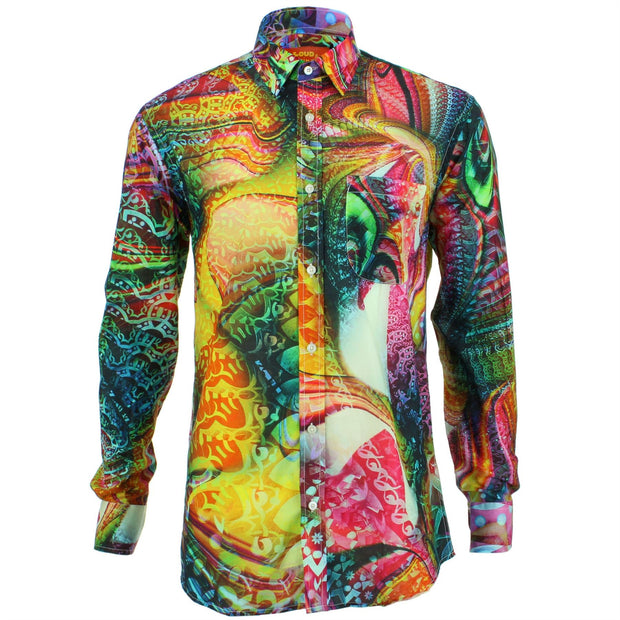 Regular Fit Long Sleeve Shirt - Red & Yellow Abstract