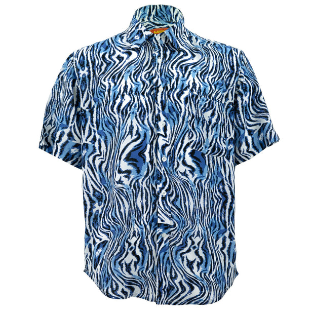 Regular Fit Short Sleeve Shirt - Blue Zebra