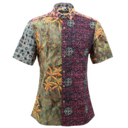 Slim Fit Short Sleeve Mixed Panel Shirt -