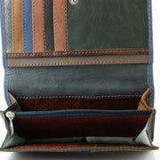 Real Leather Colourful Purse Wallet - Blue