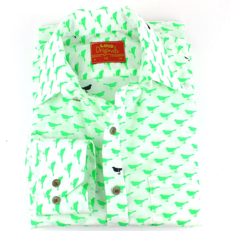 Tailored Fit Long Sleeve Shirt - Green & Black Birds