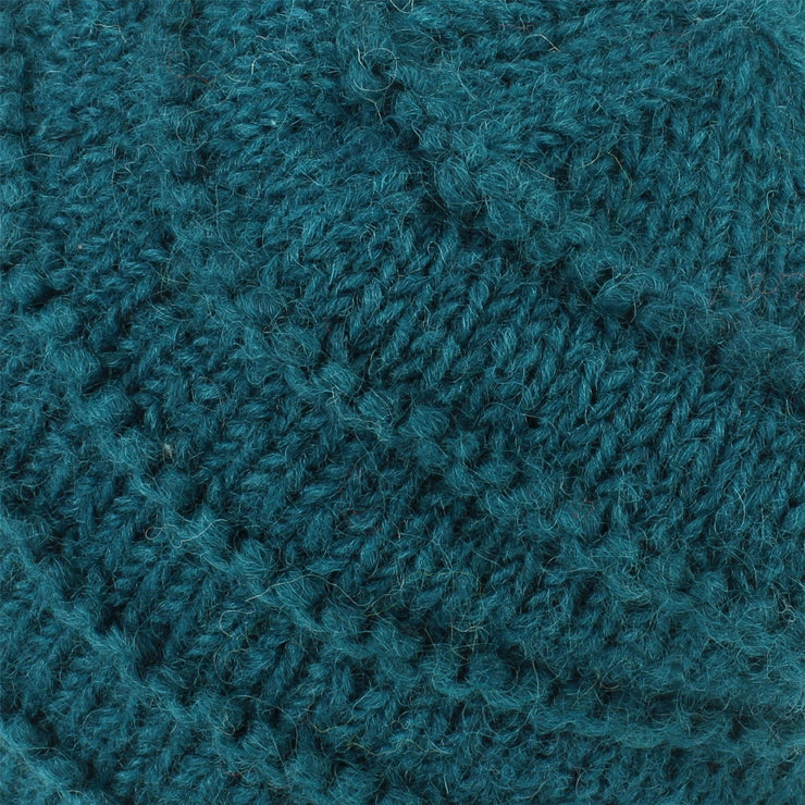Chunky Ribbed Wool Knit Beanie Hat with Space Dye Design - Teal