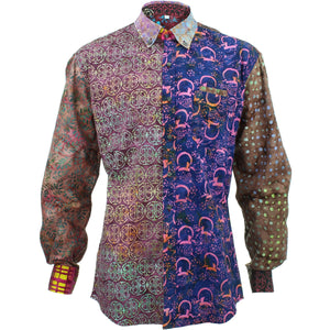Regular Fit Long Sleeve Shirt - Random Mixed Batik - Red
