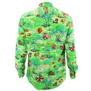 Tailored Fit Long Sleeve Shirt - Sea Life on Green